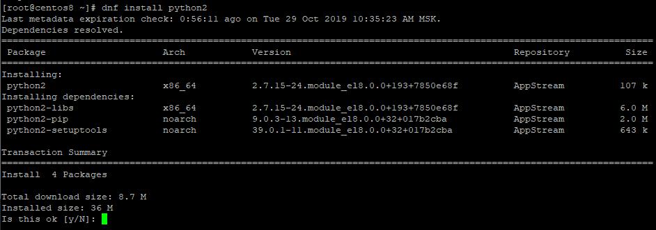 centos 8 install python2