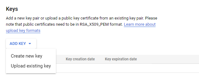 google service account create new key