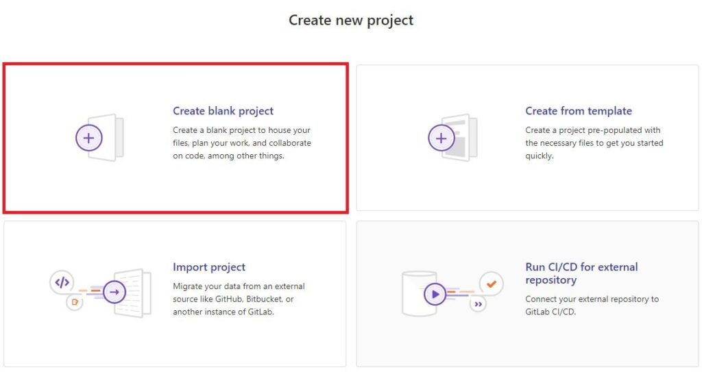 version control system gitlab create new project
